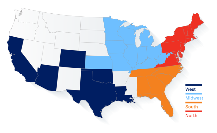 Map of the United States showing states where Brixmor has completed acquisitions