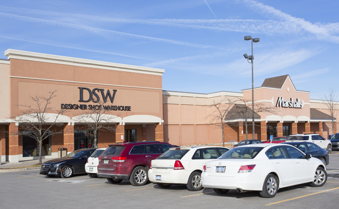 DSW storefront in Brixmor retail shopping center