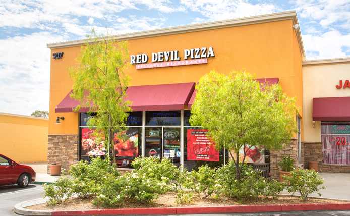 Red Devil Pizza storefront in Brixmor retail shopping center