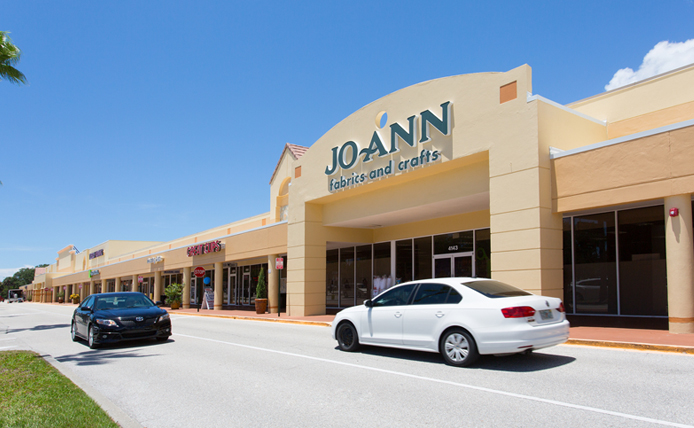 Joann storefront in Brixmor retail shopping center