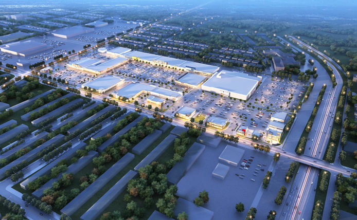 Rendering of Overhead View of Roosevelt Mall