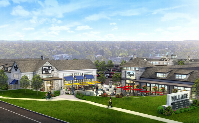 Rendering of Streetfront View of Village at Newtown